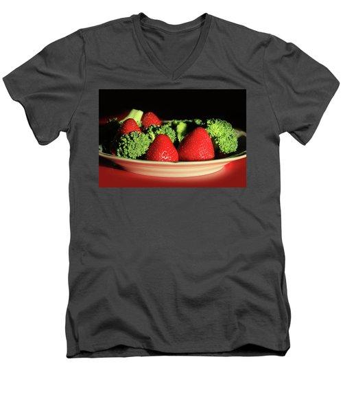 Strawberries And Broccoli Men's V-Neck T-Shirt by Lori Deiter