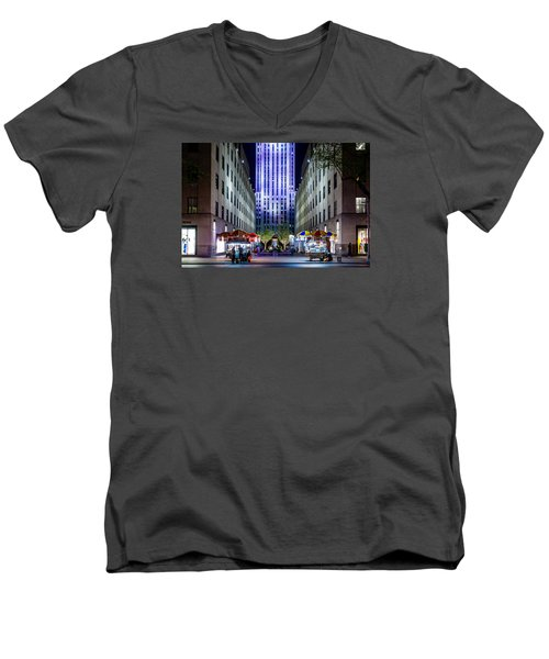 Men's V-Neck T-Shirt featuring the photograph Rockefeller Center by M G Whittingham