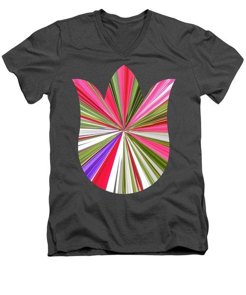 Striped Tulip Men's V-Neck T-Shirt by Marian Bell