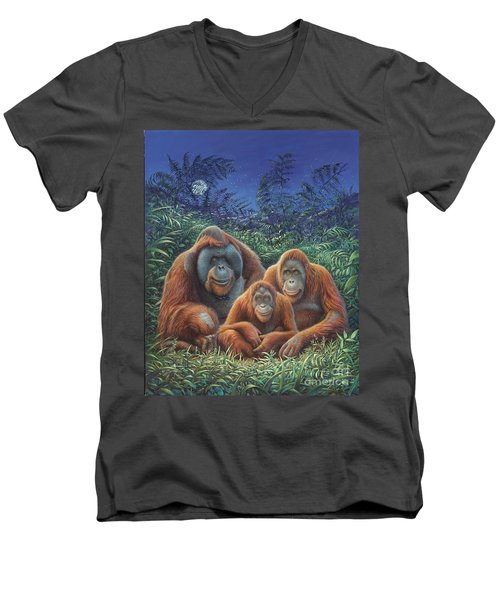 Sumatra Orangutans Men's V-Neck T-Shirt by Hans Droog