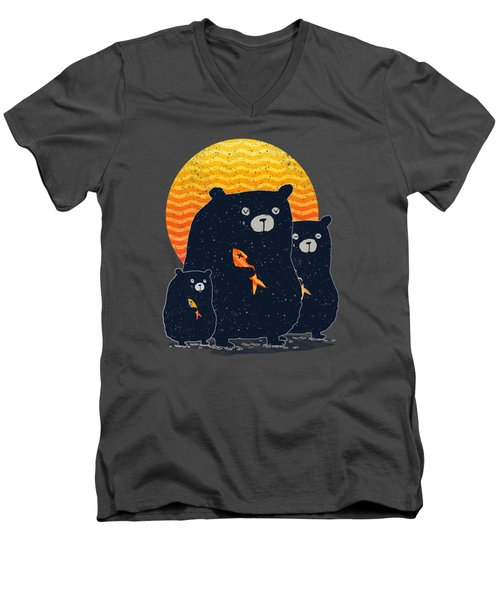 Sunset Bear Family Men's V-Neck T-Shirt by Illustratorial Pulse