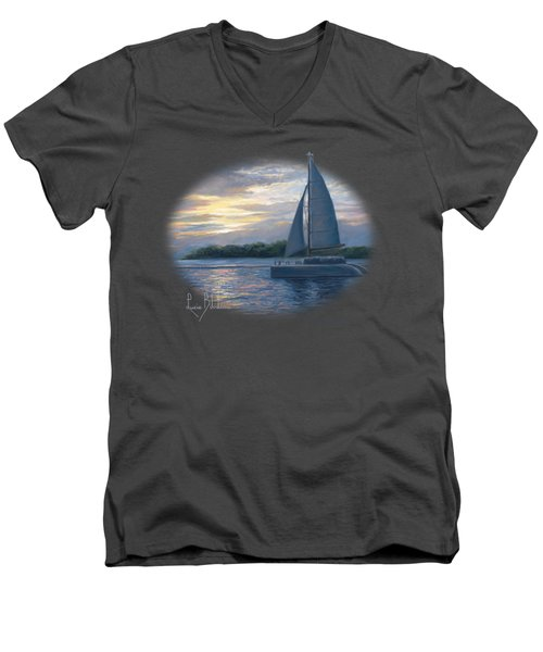 Sunset In Key West Men's V-Neck T-Shirt by Lucie Bilodeau