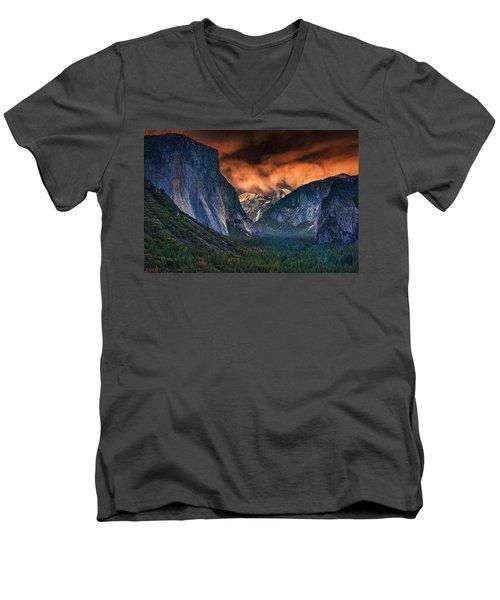 Sunset Skies Over Yosemite Valley Men's V-Neck T-Shirt by Rick Berk