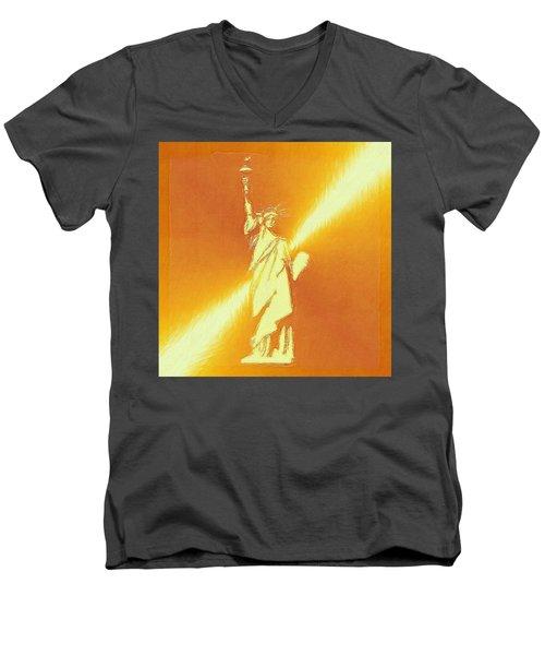 Sunstrike On Statue Of Liberty Men's V-Neck T-Shirt by Clive Littin