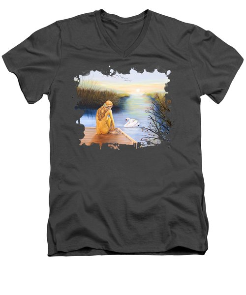 Swan Bride T-shirt Men's V-Neck T-Shirt by Dorothy Riley