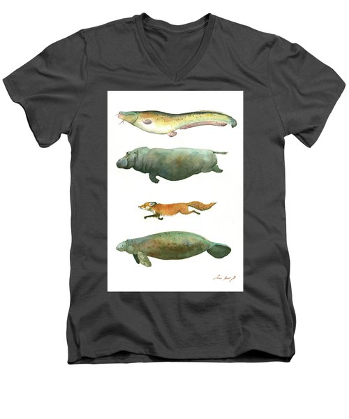 Swimming Animals Men's V-Neck T-Shirt by Juan Bosco