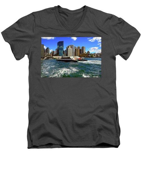 Sydney Skyline From Harbor By Kaye Menner Men's V-Neck T-Shirt by Kaye Menner
