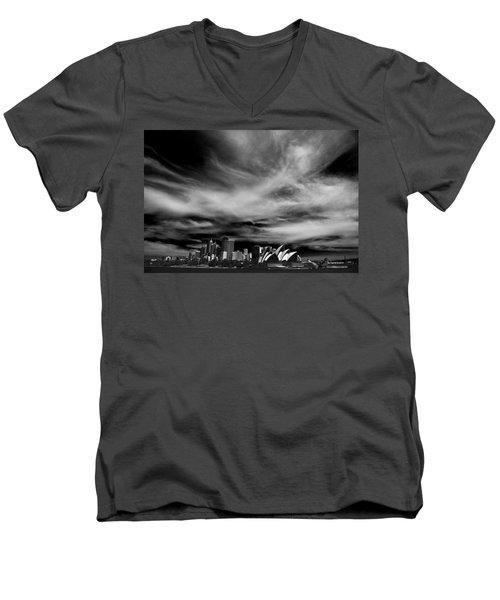 Sydney Skyline With Dramatic Sky Men's V-Neck T-Shirt by Avalon Fine Art Photography