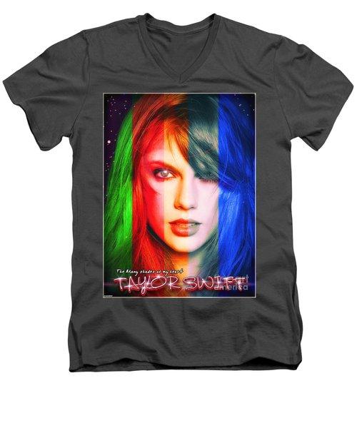 Taylor Swift - Sparks Alt Version Men's V-Neck T-Shirt by Robert Radmore