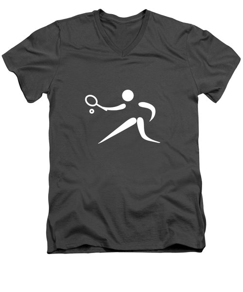 Tennis Player Men's V-Neck T-Shirt by Frederick Holiday