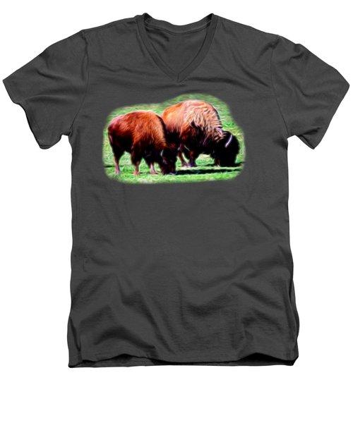 Texas Bison Men's V-Neck T-Shirt by Linda Phelps