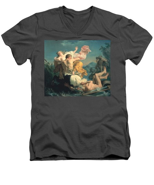 The Abduction Of Deianeira By The Centaur Nessus Men's V-Neck T-Shirt by Louis Jean Francois Lagrenee
