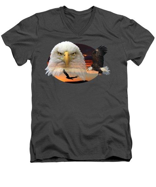 The Bald Eagle 2 Men's V-Neck T-Shirt by Shane Bechler