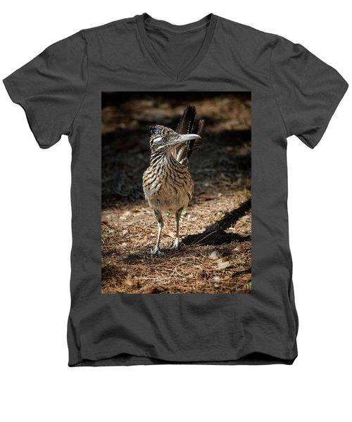 The Greater Roadrunner Walk  Men's V-Neck T-Shirt by Saija Lehtonen