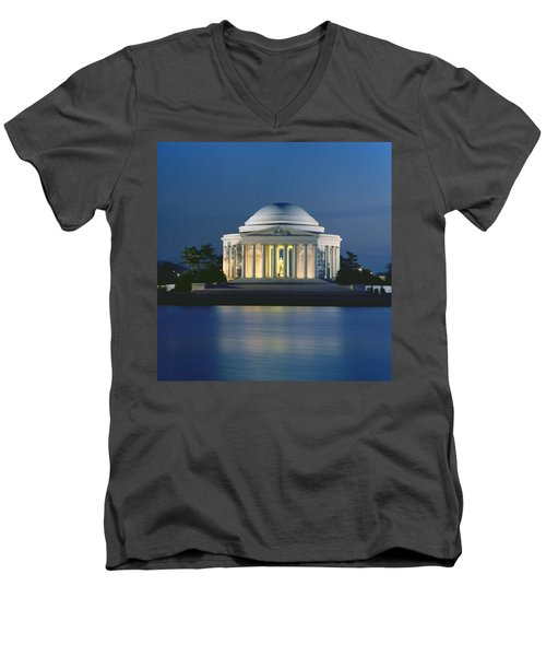 The Jefferson Memorial Men's V-Neck T-Shirt by Peter Newark American Pictures