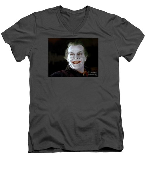 The Joker Men's V-Neck T-Shirt by Paul Tagliamonte