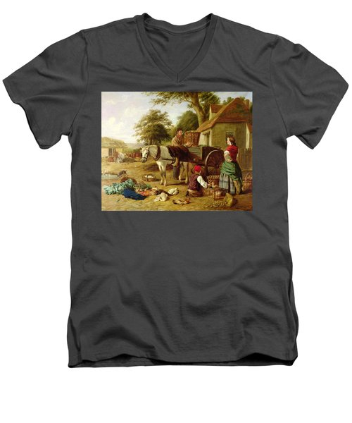 The Market Cart Men's V-Neck T-Shirt by Henry Charles Bryant