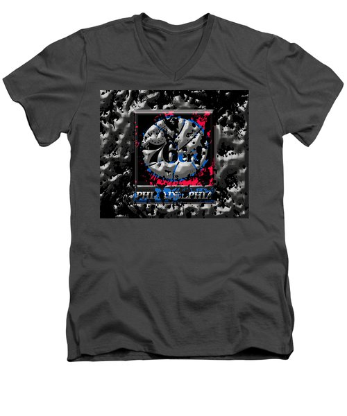 The Philadelphia 76ers Men's V-Neck T-Shirt by Brian Reaves