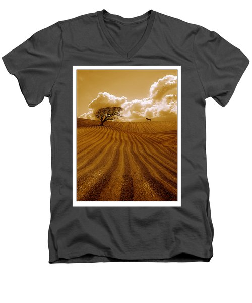The Ploughed Field Men's V-Neck T-Shirt by Mal Bray