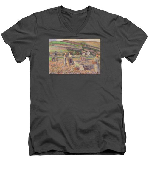 The Potato Harvest Men's V-Neck T-Shirt by Camille Pissarro