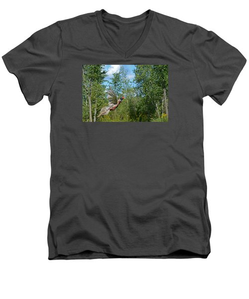The Ring-necked Pheasant In Take-off Flight Men's V-Neck T-Shirt by Asbed Iskedjian