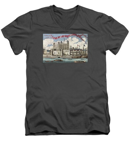 The Tower Of London Seen From The River Thames Men's V-Neck T-Shirt by English School