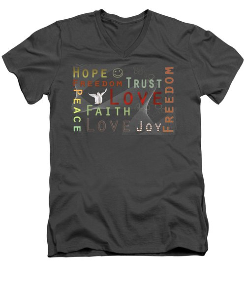 Think Positive Men's V-Neck T-Shirt by Jutta Maria Pusl