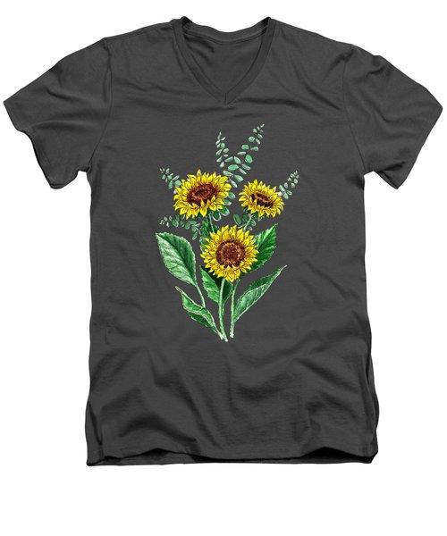 Three Playful Sunflowers Men's V-Neck T-Shirt by Irina Sztukowski