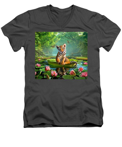 Tiger Lily Men's V-Neck T-Shirt by Jerry LoFaro