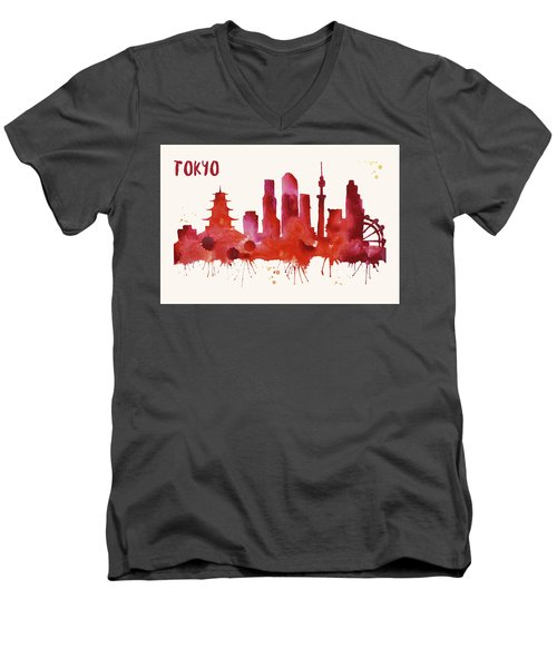 Tokyo Skyline Watercolor Poster - Cityscape Painting Artwork Men's V-Neck T-Shirt by Beautify My Walls