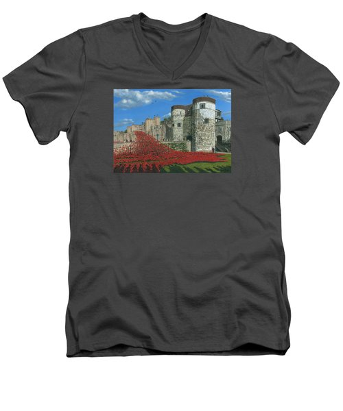 Tower Of London Poppies - Blood Swept Lands And Seas Of Red  Men's V-Neck T-Shirt by Richard Harpum