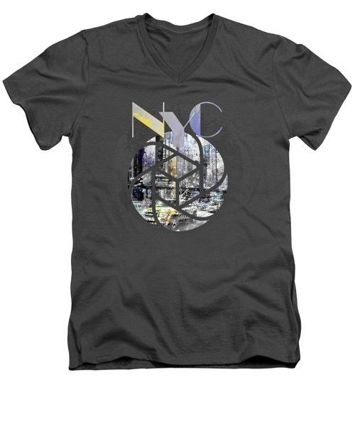 Trendy Design New York City Geometric Mix No 4 Men's V-Neck T-Shirt by Melanie Viola