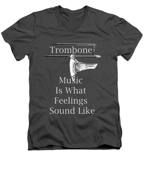 Trombone Is What Feelings Sound Like 5585.02 Men's V-Neck T-Shirt by M K  Miller