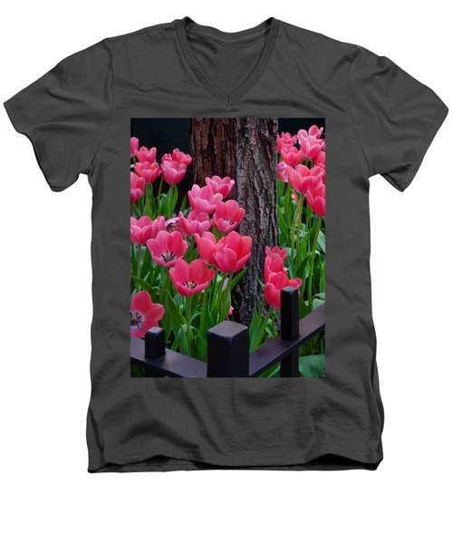 Tulips And Tree Men's V-Neck T-Shirt by Mike Nellums