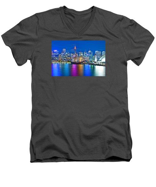 Vibrant Darling Harbour Men's V-Neck T-Shirt by Az Jackson