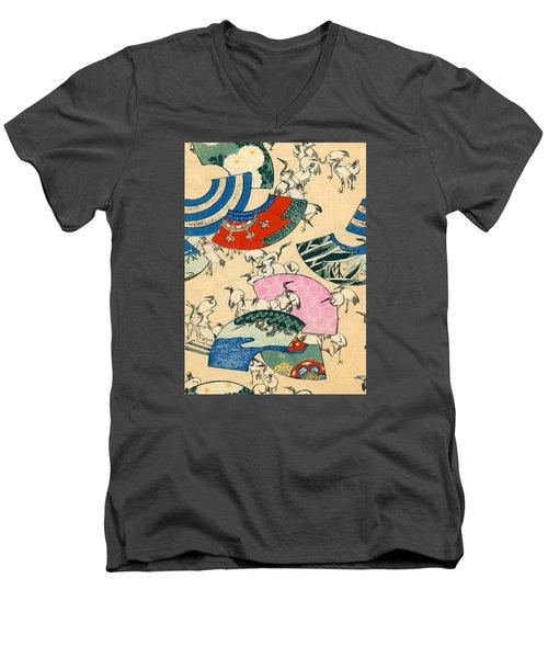 Vintage Japanese Illustration Of Fans And Cranes Men's V-Neck T-Shirt by Japanese School