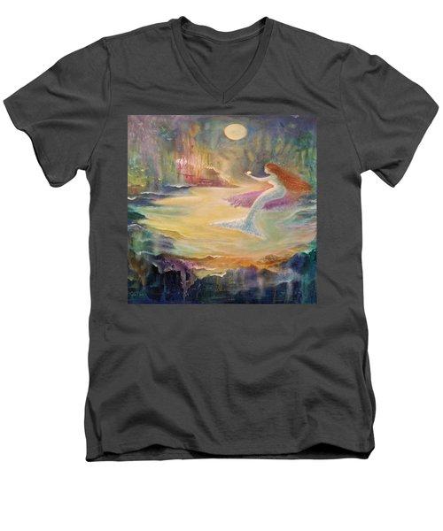 Vintage Mermaid Men's V-Neck T-Shirt by Lily Nava