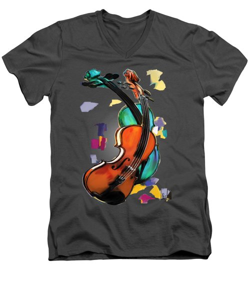 Violins Men's V-Neck T-Shirt by Melanie D