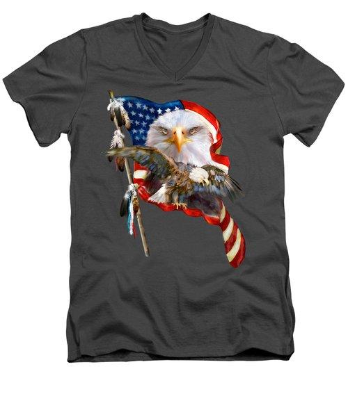 Vision Of Freedom Men's V-Neck T-Shirt by Carol Cavalaris
