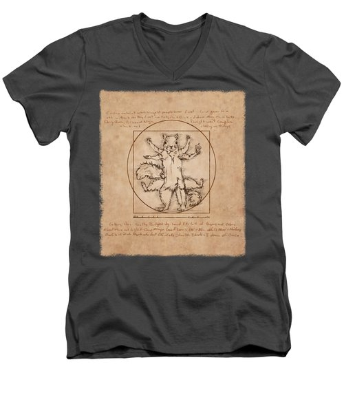 Vitruvian Squirrel Men's V-Neck T-Shirt by Katherine Nutt