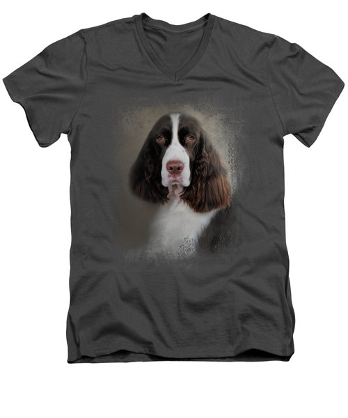 Waiting Patiently - English Springer Spaniel Men's V-Neck T-Shirt by Jai Johnson