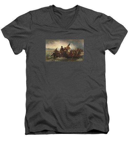 Washington Crossing The Delaware Painting  Men's V-Neck T-Shirt by Emanuel Gottlieb Leutze