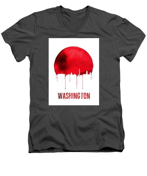 Washington Skyline Red Men's V-Neck T-Shirt by Naxart Studio
