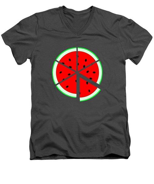 Watermelon Wedge Men's V-Neck T-Shirt by Susan Eileen Evans