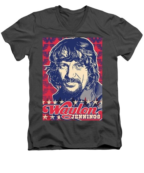 Waylon Jennings Pop Art Men's V-Neck T-Shirt by Jim Zahniser