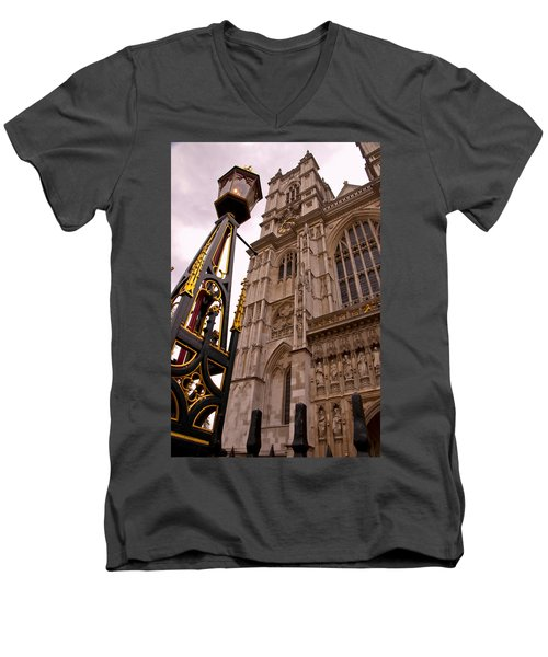 Westminster Abbey London England Men's V-Neck T-Shirt by Jon Berghoff