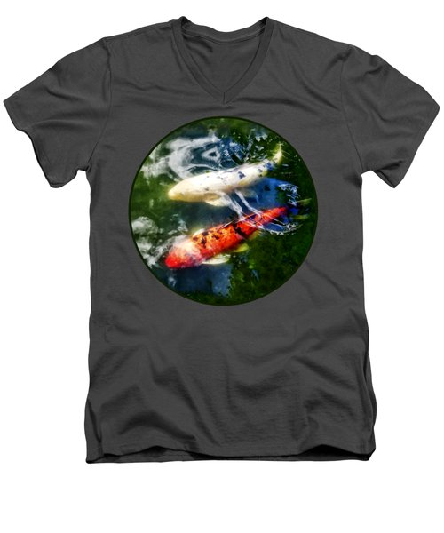 White And Orange Koi Men's V-Neck T-Shirt by Susan Savad