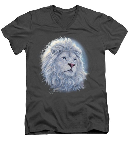 White Lion Men's V-Neck T-Shirt by Lucie Bilodeau