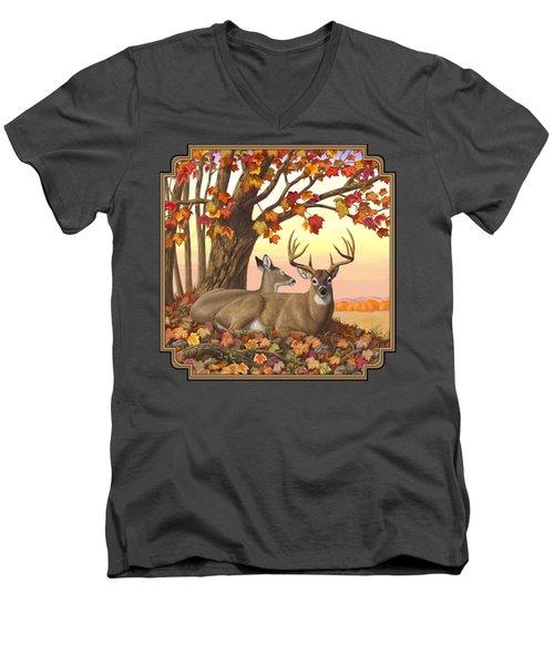 Whitetail Deer - Hilltop Retreat Men's V-Neck T-Shirt by Crista Forest