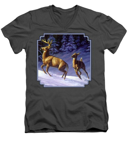 Whitetail Deer Painting - Startled Men's V-Neck T-Shirt by Crista Forest
